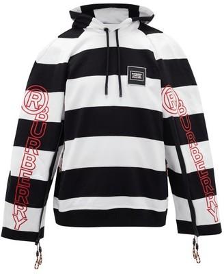 Burberry Striped Puff-sleeve Hooded Sweatshirt - Black