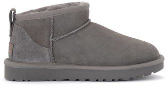 UGG Classic Ultra Mini Gray Ankle Boot In Suede