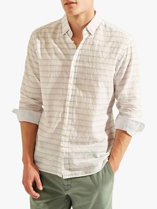 Hackett London HKT Stripe Cotton Linen Shirt, White/Grey