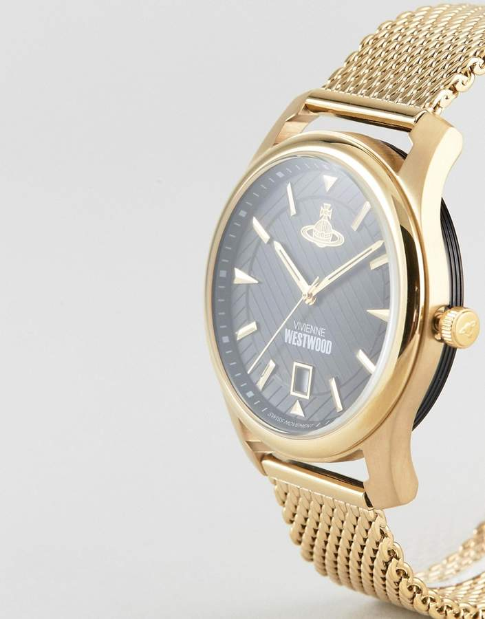 Vivienne Westwood Vv185bkgd Mesh Watch In Gold