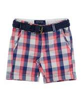 Mayoral Belted Cotton Plaid Shorts, Multicolor, Size 3-7