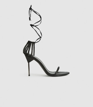 Reiss ZHANE CRYSTAL EMBELLISHED STRAPPY WRAP SANDALS Black