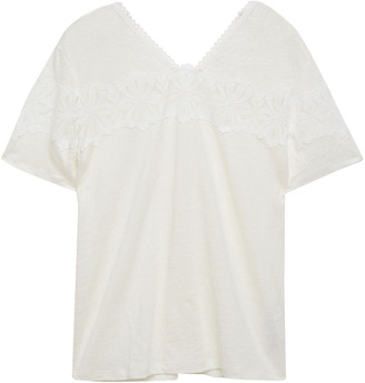 Sandro Valeska Guipure Lace-trimmed Linen-jersey T-shirt
