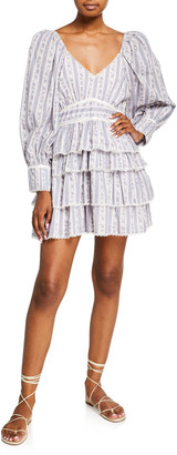 LoveShackFancy Astor Striped Ruffle-Tiered Dress
