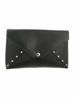 Celine Leather Biker Clutch green