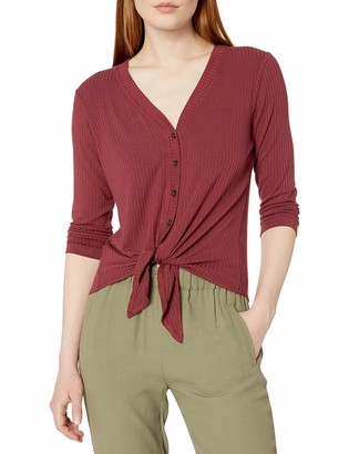 Buffalo David Bitton Women's 3/4 Sleeve Vneck Rib Knit top with Button Front Detail and tie Waist