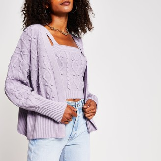 River Island Womens Light Purple knit cardigan and bralet set