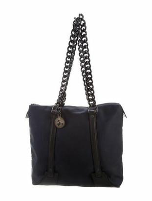 Lanvin Leather-Trimmed Satin Tote Blue