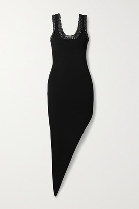 Alexander Wang Asymmetric Chain-embellished Mesh-trimmed Stretch-knit Dress - Black