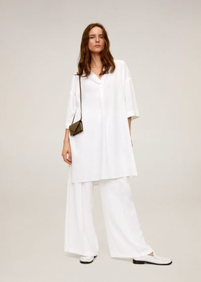 MANGO Oversize blouse off white - 4 - Women