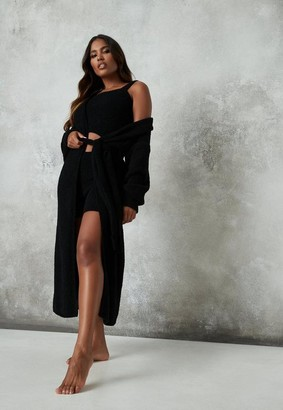 Missguided Black Cosy Knit Maxi Belted Cardigan