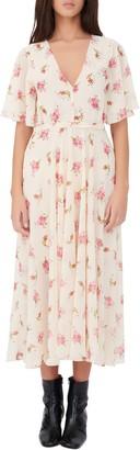Maje Floral Short Sleeve Dress