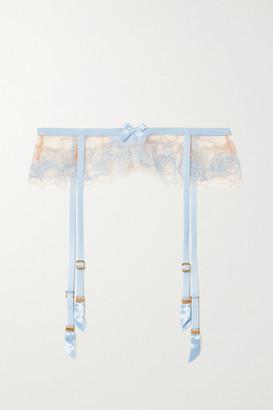 Agent Provocateur Lindie Bead-embellished Embroidered Tulle Suspender Belt - Blue