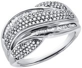 Paradise Jewelers Women's 1.50 CTW Pave & Baguette Diamond White Gold-Plated Sterling Twisty Band, Size 6.5