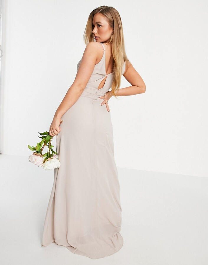 Thumbnail for your product : TFNC Bridesmaid cami wrap maxi dress with fishtail in pink