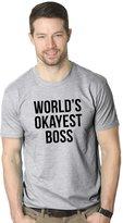 Crazy Dog T-shirts Crazy Dog Tshirts Mens Worlds Okayest Boss Funny Office Career T shirt (Grey)