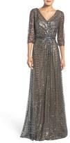 La Femme Women's Sequin Mesh Gown