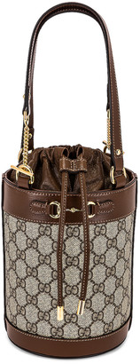Gucci 1955 Horsebit Bucket Bag in Beige Ebony & Brown Sugar   FWRD