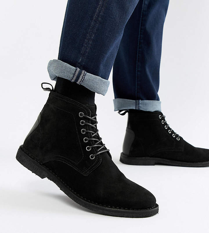 07615e4ea5b Design DESIGN Wide Fit desert boots in black suede with leather detail