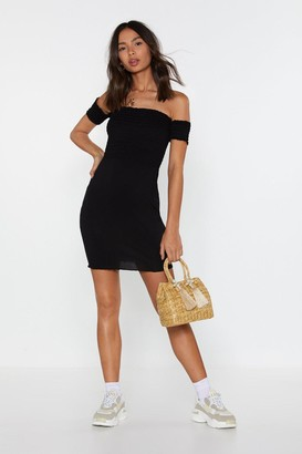 Nasty Gal Womens Move Off-the-Shoulder Shirred Dress - black - 14