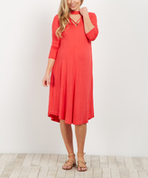 PinkBlush Coral Mock-Neck Crisscross Cutout Maternity Dress