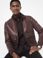 Michael Kors Washed Nappa Leather Bomber Jacket