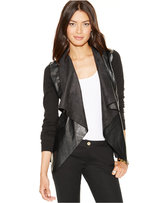MICHAEL Michael Kors Faux-Leather Mixed-Media Draped Cardigan