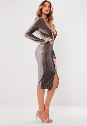 Missguided Grey Metallic Stripe Plunge Bodycon Dress