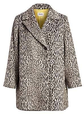 Cinzia Rocca Cinzia Rocca, Plus Size Women's Leopard-Print Textured Coat