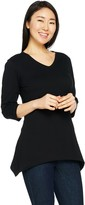 Denim & Co. Essentials 3/4 Sleeve Knit Tunic with Trapeze Hem
