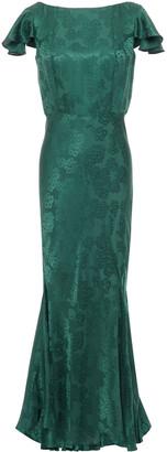 Saloni Daphne Fluted Satin-jacquard Maxi Dress