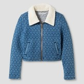 Girls' Quilted Knit Denim Jacket with Sherpa Collar - Cat & Jack