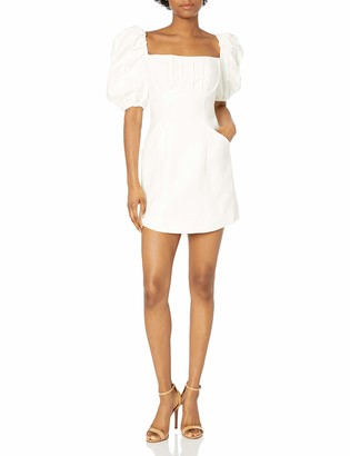 C/Meo Women's Puffy Gathered Sleeve Square Neck Rounded Hem Over Again SS Mini Dress
