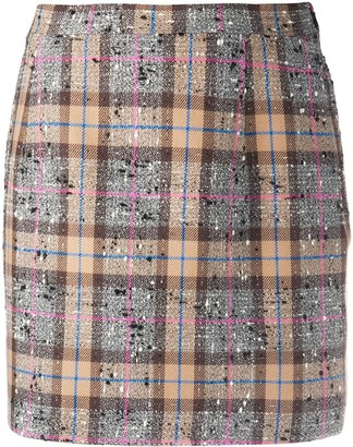 Alessandra Rich Fitted Tweed Check Skirt