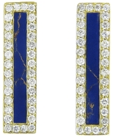 Jennifer Meyer Diamond Lapis Inlay Long Bar Stud Earrings - Yellow Gold