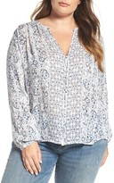 Lucky Brand Plus Size Women's Smocked Peasant Top