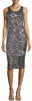 Parker Sleeveless Sequined Cocktail Dress, Silver