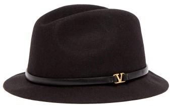 Valentino V Ring Leather Trimmed Felt Fedora Hat - Womens - Black