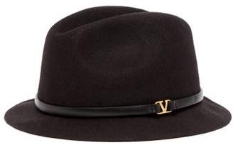 Valentino V-ring Leather-trimmed Felt Fedora Hat - Womens - Black