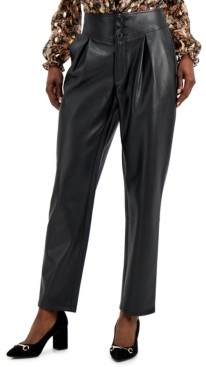 INC International Concepts Inc Faux-Leather Pleat-Front Pants, Created for Macy's