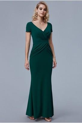 Goddiva Emerald Crossover Top Maxi Dress