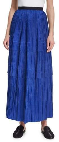 Oscar de la Renta Tiered Pleated Silk Maxi Skirt, Blue