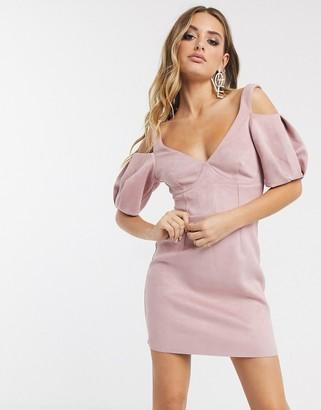 ASOS DESIGN faux suede scuba cupped corseted a-line mini dress