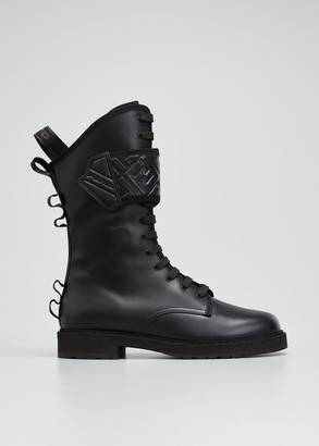Fendi Rockoko FF Lace-Up Biker Boots