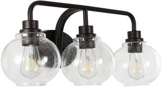 Jonathan Y Designs Sandrine 26.25In 3-Light Iron/Seeded Glass Cottage Rustic Led Vanity Light