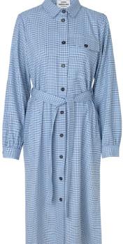 Mads Norgaard Dogtooth Tech Shjakilla Dress - Blue Check - Size M (UK 12-14)
