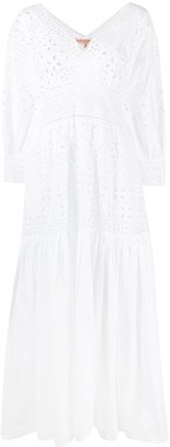 Ermanno Scervino Embroidered Long-Sleeve Maxi Dress