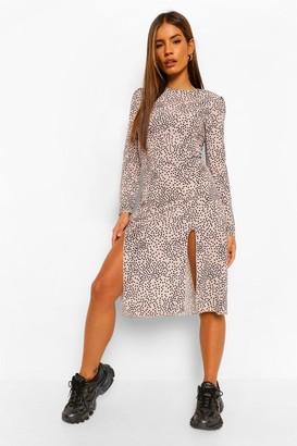 boohoo Petite Spot Print Long Sleeve Split Midi Dress