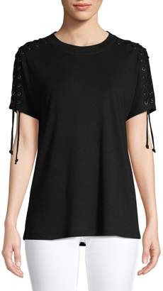 Nic+Zoe Lace-Up Sleeve Top
