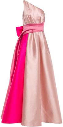 Marchesa One-shoulder Bow-embellished Color-block Duchesse-satin Gown